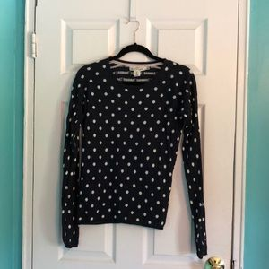 H&M Navy Blue and White Polka Dot Sweater Top